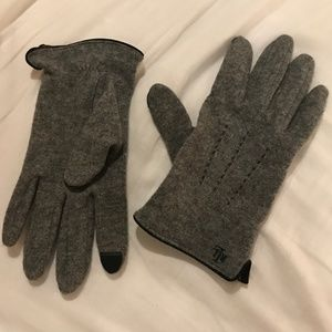 Ralph Lauren Cashmere TEXTING Touch Grey Gloves os